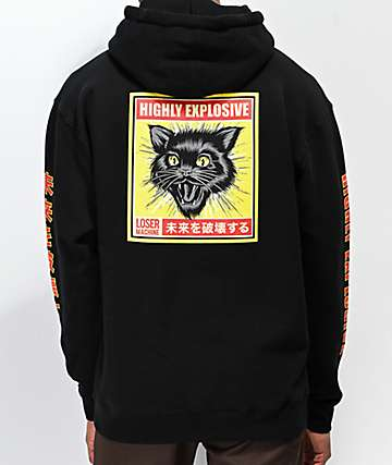 Loser Machine Black Cat Black Hoodie