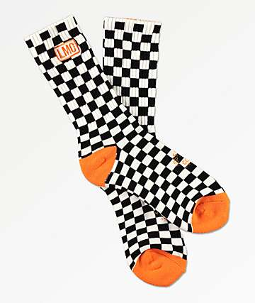 Loser Machine Checkered Black, White & Orange Crew Socks