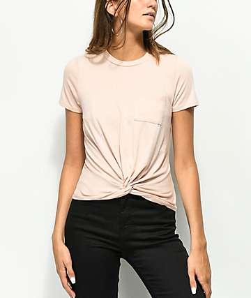 Love, Fire Knot Front Mauve T-Shirt