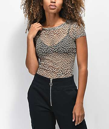 Love, Fire Leopard Mesh Top