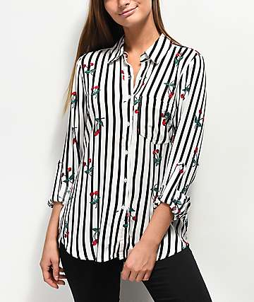 Love, Fire Stripe Cherry Long Sleeve Button Up
