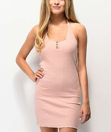 Lunachix 3 Button Light Pink Bodycon Halter Dress