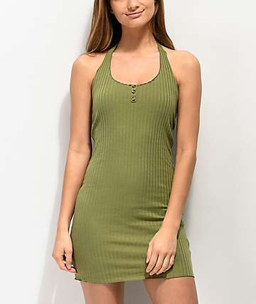 Lunachix 3 Button Olive Halter Bodycon Dress