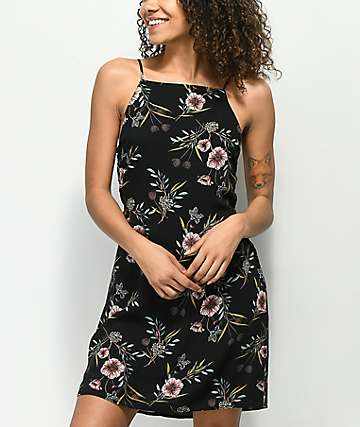 Lunachix Amelia Tie Back Black Floral Dress