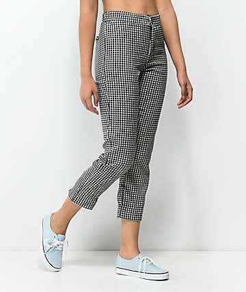 Lunachix Black & White Gingham Ankle Pants