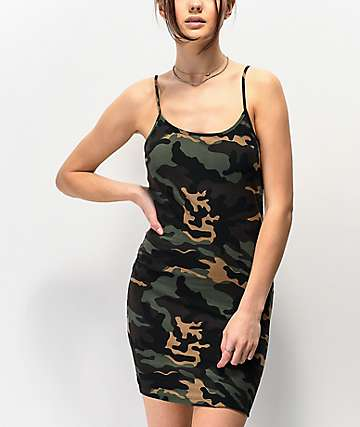 Lunachix Camo Bodycon Tank Top Dress