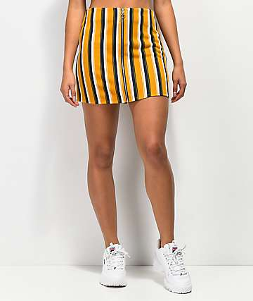 Lunachix Gold & Navy Stripe Front Zip Mini Skirt