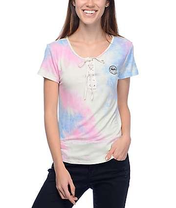 Lunachix Karina Alien Pink Tie Dye Laceup Top