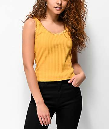 Lunachix Lace Trim Mustard Tank Top