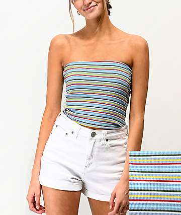 Lunachix Multi Stripe Blue Crop Tube Top