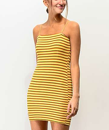 Lunachix Stripe Yellow Strappy Tube Dress