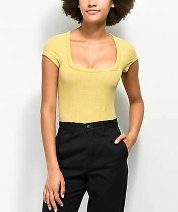 Lunachix camiseta amarilla de rayas con cuello cuadrado