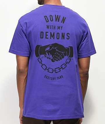 Lurking Class By Sketchy Tank Demons Purple T-Shirt