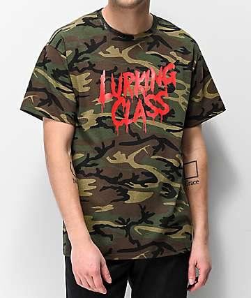 Lurking Class By Sketchy Tank Drip Script Camo T-Shirt