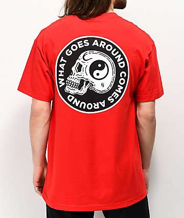 Lurking Class By Sketchy Tank Yin Yang Skull Red T-Shirt