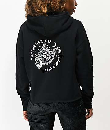Lurking Class by Sketchy Tank Class Wolves Black Crop Hoodie
