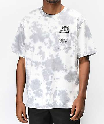 Lurking Class by Sketchy Tank Demon Pocket Grey Tie Dye T-Shirt