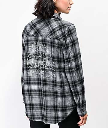 Lurking Class by Sketchy Tank Flames Black & Grey Flannel Shirt