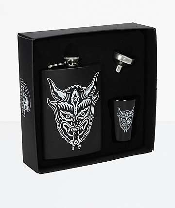 Lurking Class by Sketchy Tank Horns Black Flask Shot Set