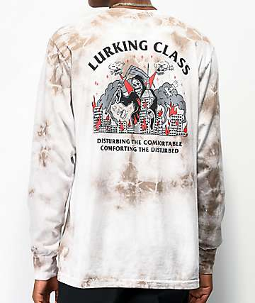 Lurking Class by Sketchy Tank Rampage Grey & White Tie Dye Long Sleeve T-Shirt