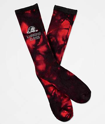 Lurking Class by Sketchy Tank Red Tie Dye Crew Socks