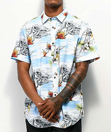Lurking Class by Sketchy Tank Tropical Light Blue Short Sleeve Button Up Shirt