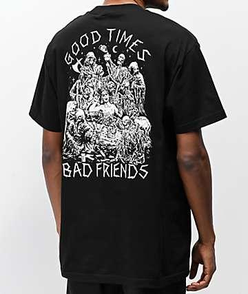 Lurking Class x Stikker Good Times Bad Friends camiseta negra