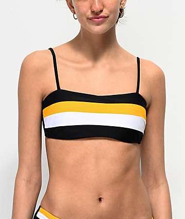 Malibu top de bikini negro, blanco y amarillo de rayas