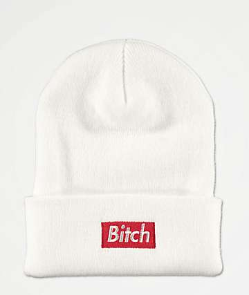 Married To The Mob Bitch Box White Beanie