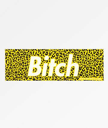 Married To The Mob Bitch Leopard Yellow Sticker