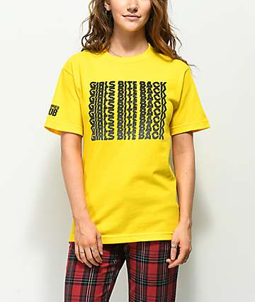 Married To The Mob Girls Bite Back Yellow T-Shirt