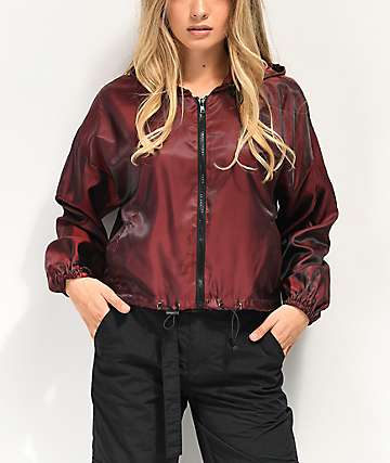 Material Girl Active Jester Red Crop Windbreaker Jacket