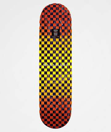 "Maxallure Let's Go 8.25"" Yellow & Orange Checkered Skateboard Deck"