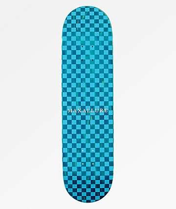 "Maxallure Lets Go Checkerboard Blue 8.25"" Skateboard Deck"