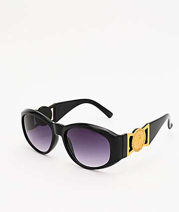 Medallion Temple Black Oval Sunglasses