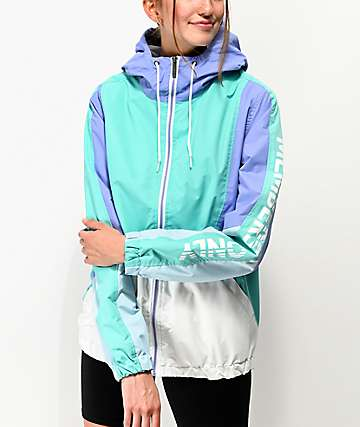 Members Only Colorblock Teal & Lilac Windbreaker Jacket