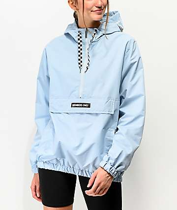 Members Only Half Zip Dusty Sky Windbreaker Jacket