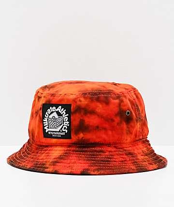 Milkcrate Fire Flames sombrero de cubo tie dye anaranjado