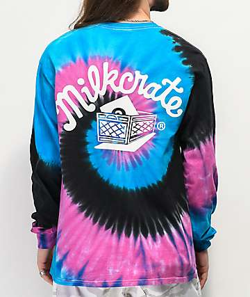Milkcrate Logo Navy, Pink & Black Tie Dye Long Sleeve T-Shirt