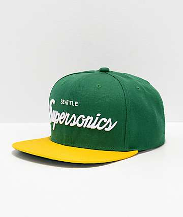 Mitchell & Ness Sonics Green & Yellow Snapback Hat