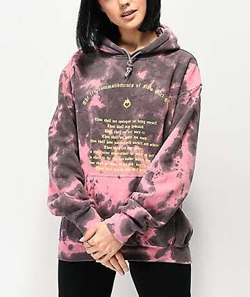 NEW girl ORDER Commandments sudadera con capucha tie dye rosa