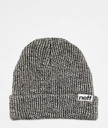 Neff Fold gorro negro y blanco jaspeado