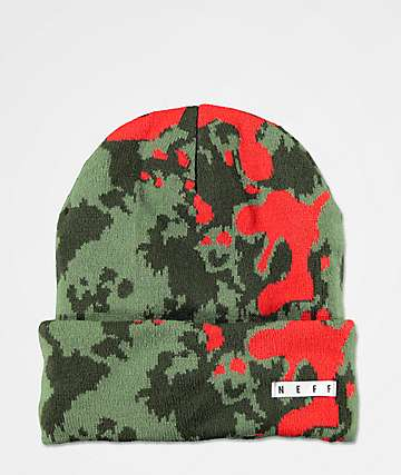 Neff Lawrence Jacquard Camo Spray Green & Red Beanie