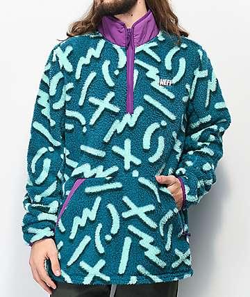 Neff Rink Blue & Purple Tech Fleece Jacket