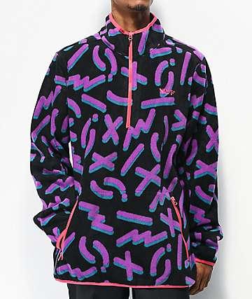 Neff Throwback Black & Purple Tech Fleece Jacket