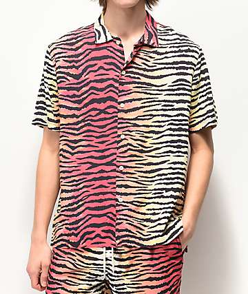 Neff Tiger Stripe Multicolor Short Sleeve Button Up