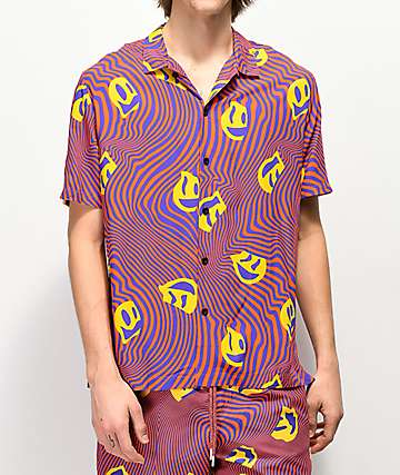 Neff Warped Smile Red Short Sleeve Button Up Shirt