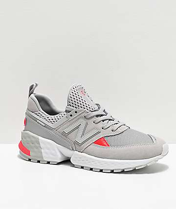 New Balance Lifestyle 574 Sport Rain Cloud & Energy Red Shoes