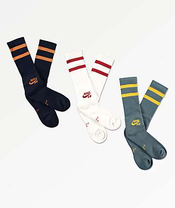 Nike SB 3 Pack Multicolor Crew Socks