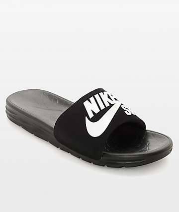 Nike SB Benassi SolarSoft Black & White Slides